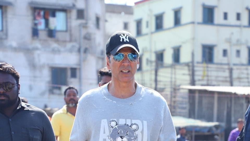 Akshay Kumar seen at Versova Jetty, in Mumbai on Jan 28.