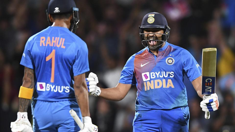 India's Rohit Sharma celebrates with KL Rahul