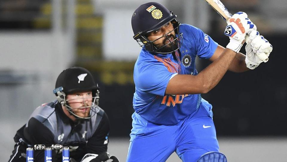 Rohit Sharma in action during the third T20I encounter between India and New Zealand.