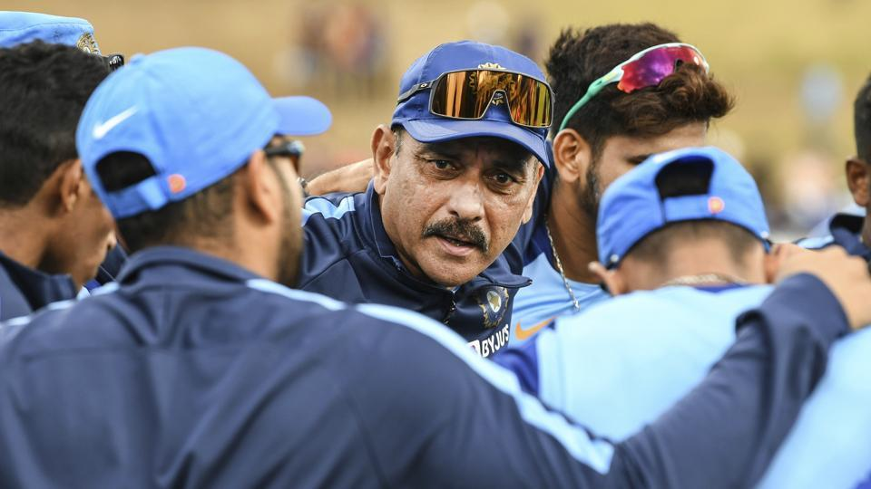 File image: India coach Ravi Shastri, center, talks to the players