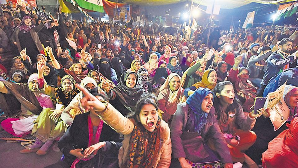 Women shout slogans during a protest against CAA, NRC and NPR at Shaheen Bagh, New Delhi,Saturday, January 18, 2020.