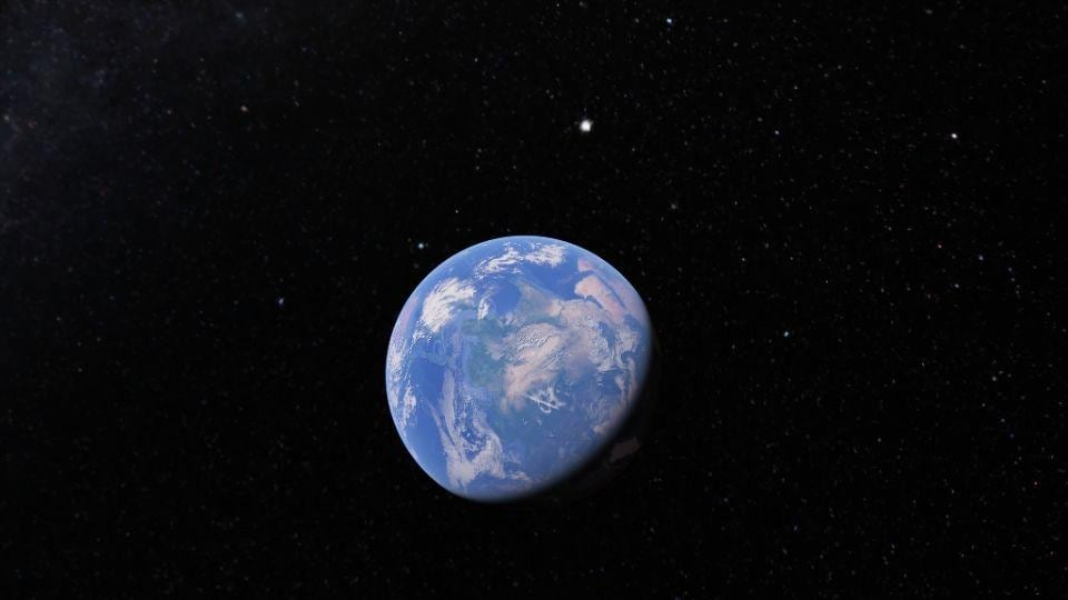 Google Earth zoomed out shows visuals of outer space.