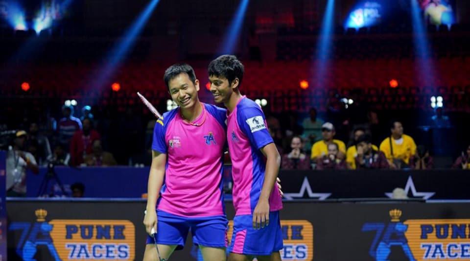 Hendra Setiawan and Chirag Shetty celebrate win.
