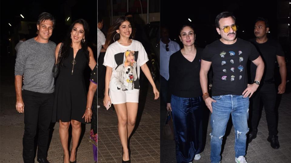Pooja Bedi with boyfriend Maneck Contractor , Alaya F, Kareena Kapoor with Saif Ali Khan at Jawaani Jaaneman screening in Mumbai on Wednesday.