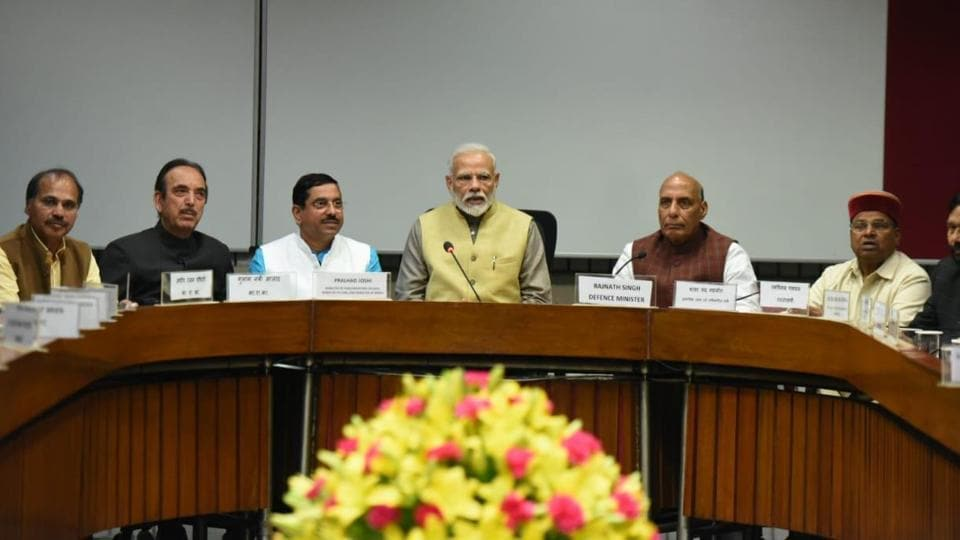 Prime minister Narendra Modi with all party leaders during meeting called by Parliamentary Affairs Minister Pralhad Joshi ahead of Budget session which begins at Parliament Library Building in New Delhi