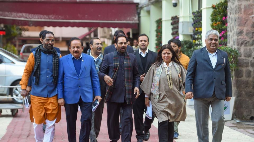 A BJP delegation comprising Union ministers Mukhtar Abbas Naqvi (C) and Harsh Vardhan (2nd L), MP Meenakshi Lekhi (2nd R, senior leader Bhupender Yadav (R) and other leaders comes out after meeting the Election Commission of India, at Nirvachan Sadan in New Delhi.