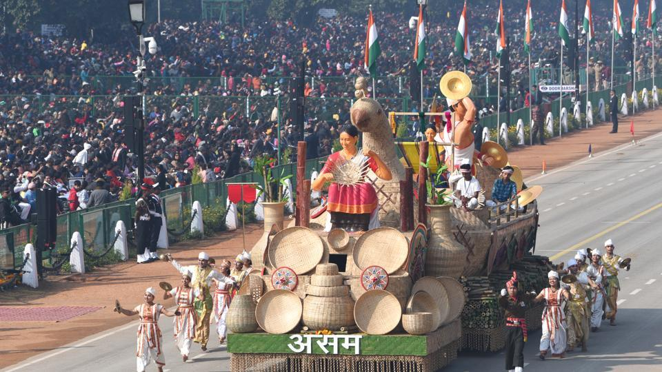 The tableau from Assam during the 71st Republic Day parade at Rajpath in New Delhi.