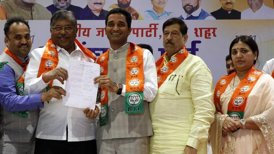(From left) Sanjay Kakade, Chandrakant Patil, Jagdish Mulik, Girish Bapat and Madhuri Misal at the BJP meet where Mulik was elected the new city unit BJP president, on Wednesday.