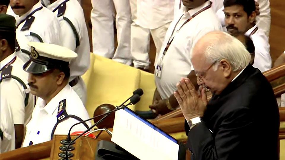 Kerala Governor Arif Mohammad Khan greets MLAs during the budget session of the state assembly in Thiruvananthapuram on Wednesday.