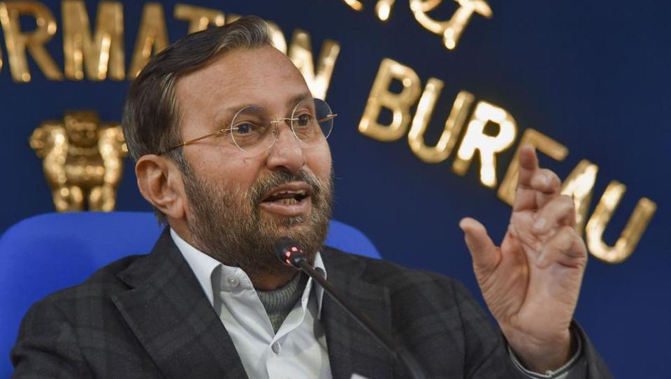 Union Information and Broadcasting Minister Prakash Javadekar briefs the media on cabinet decisions at Shastri Bhawan, New Delhi.