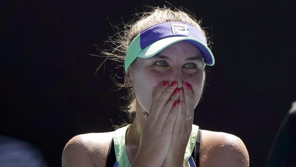 Sofia Kenin of the U.S. reacts as she is interviewed on court after defeating Australia's Ashleigh Barty