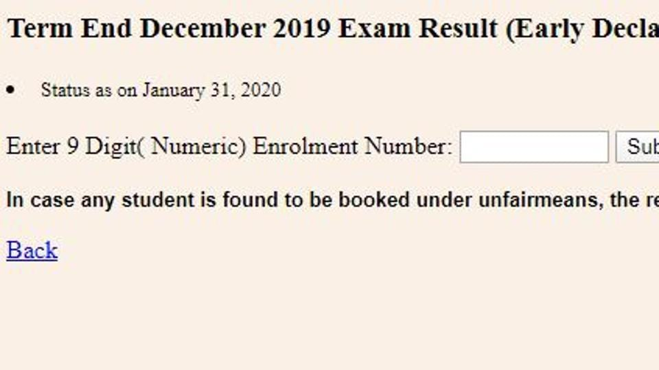 The Indira Gandhi National Open University has declared the term end December results 2019 for candidates who had applied for early results.