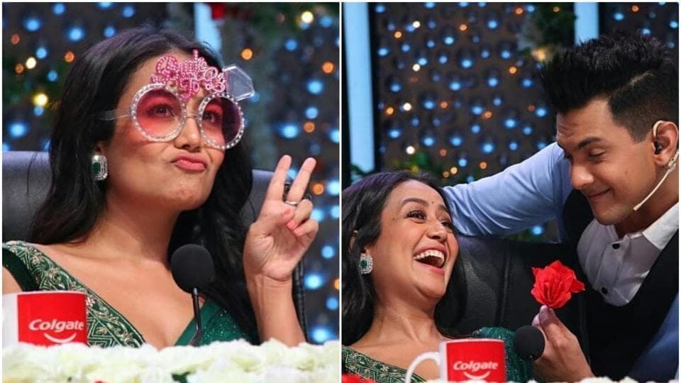 Neha Kakkar Wears Bride To Be Glasses Aditya Narayan Gives Her A Rose Fans Cannot Wait For Wedding Tv Hindustan Times