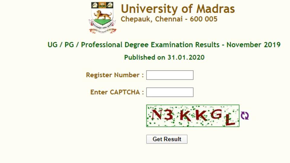 MadrasUniversity Result 2020 declared