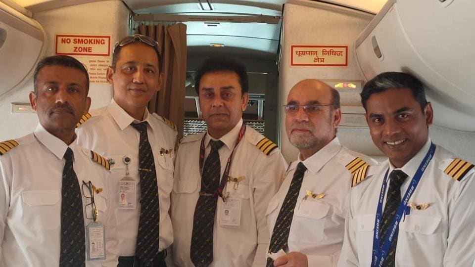 The cockpit crew of the special Air India aircraft that has been sent to evacuate Indians from the Cornonavirus-hit Wuhan city in central China on Friday.