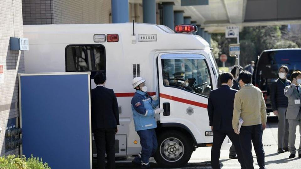 An ambulance carrying a Japanese national who evacuated from Wuhan by a chartered plane, arrives at a hospital in Tokyo, Japan.