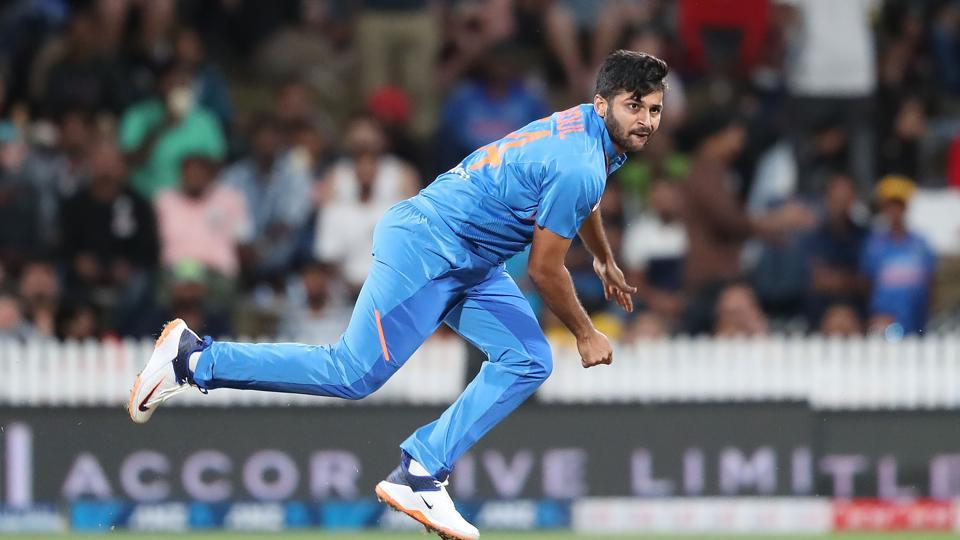 India's Shardul Thakur bowls during T20match against New Zealand.