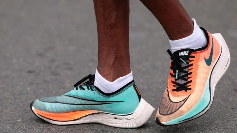 FILE PHOTO: Athletics - Dubai Marathon - Dubai, United Arab Emirates - January 24, 2020 General view of an athlete wearing the Nike Vaporfly shoes. REUTERS/Christopher Pike/File Photo