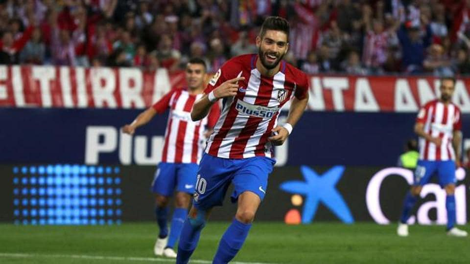 File image of Yannick Ferreira-Carrasco at Atletico Madrid. 's celebrates after scoring his third goal.