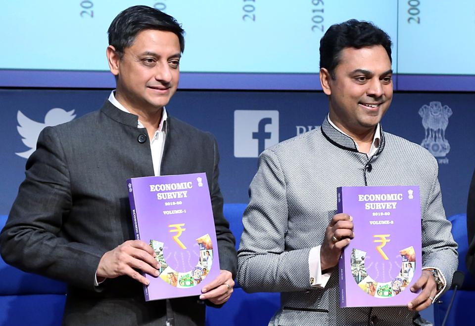 Principal Economic Adviser to the Ministry of Finance, Sanjeev Sanyal, and Chief Economic Advisor, Krishnamurthy Subramanian, releasing Economic Survey 2019-20 during the press conference, in New Delhi