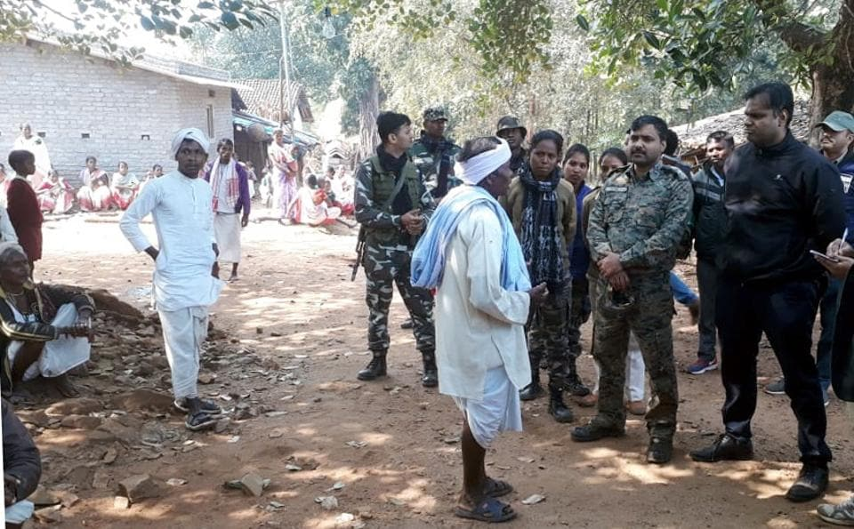 District administration officials investigating after killing of villagers by Pathalgadi supporters at Burugulikera in Jharkhand's Chaibasa on Wednesday January 22,2020.