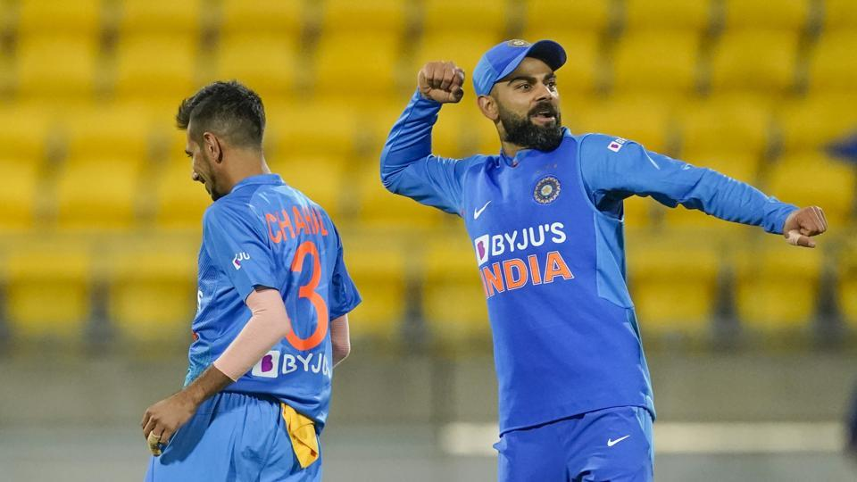 Virat Kohli during the Twenty/20 cricket international between India and New Zealand in Wellington, New Zealand, Friday, Jan. 31, 2020. (John Cowlpland/Photosport via AP)