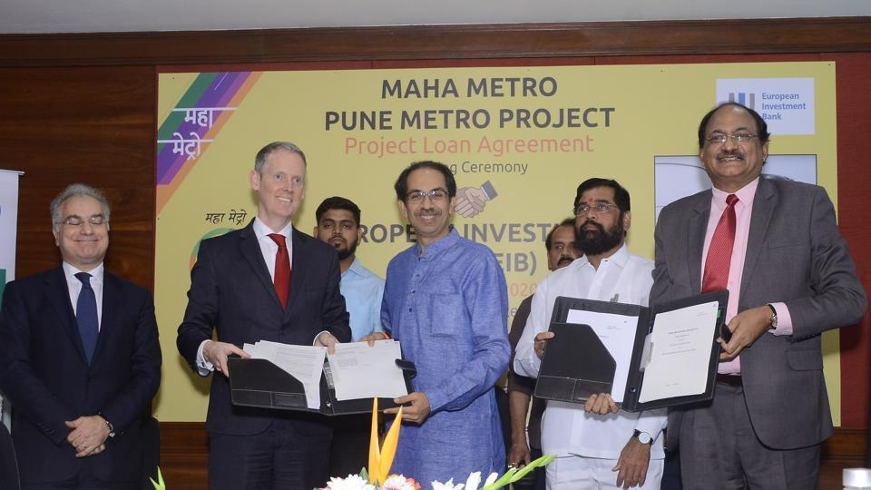 Chief minister Uddhav Thackeray signs the agreement with the EIB on Friday, at Bandra-Kurla Complex, Mumbai.