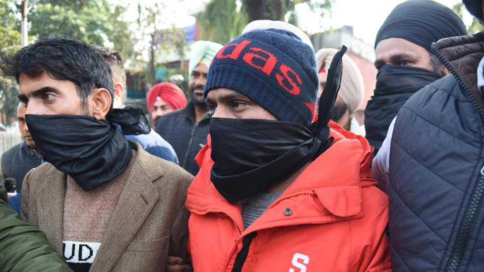 Three of the accused in the custody of special task force of Punjab Police in Amritsar on Friday, Jan 31, 2020.