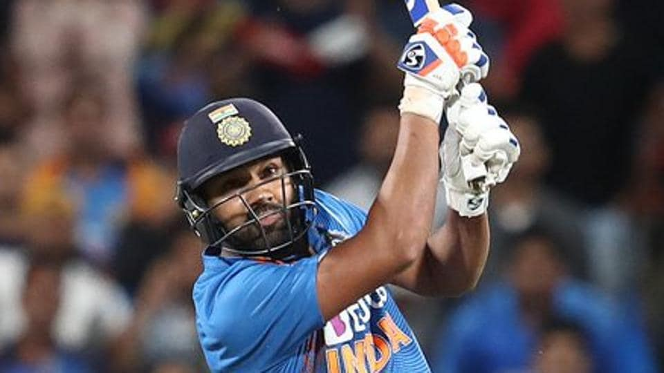 Rohit Sharma in action during the match between India and New Zealand.