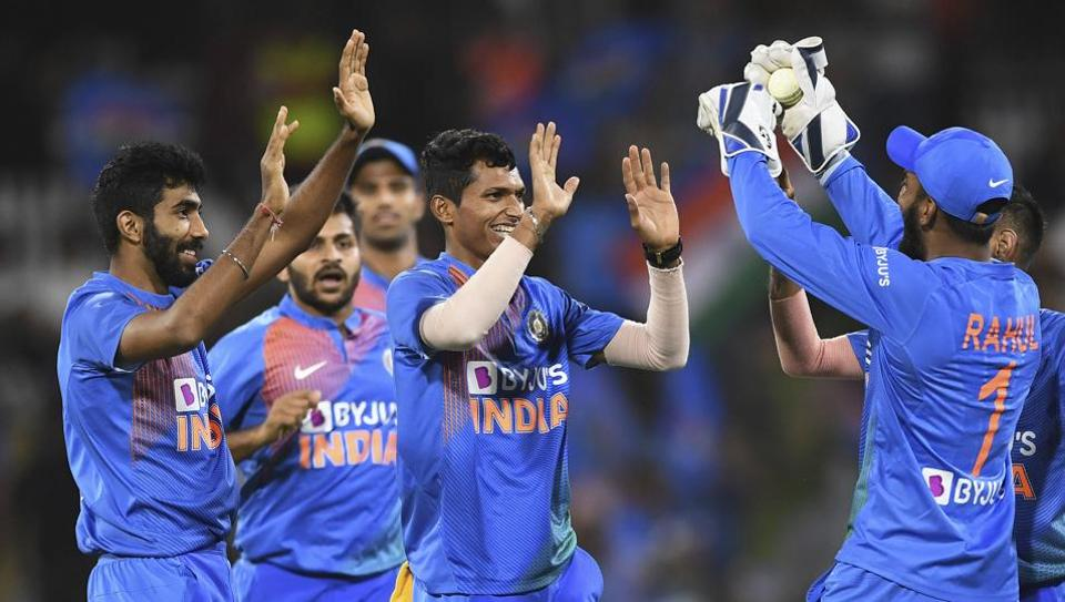 India's Navdeep Saini celebrates the wicket of Taylor during the Twenty/20 cricket international between India and New Zealand at Bay Oval in Mt Maunganui, New Zealand, Sunday, Feb. 2, 2020.