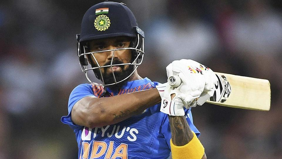 India's KL Rahul bats during a Twenty/20 cricket international between India and New Zealand.