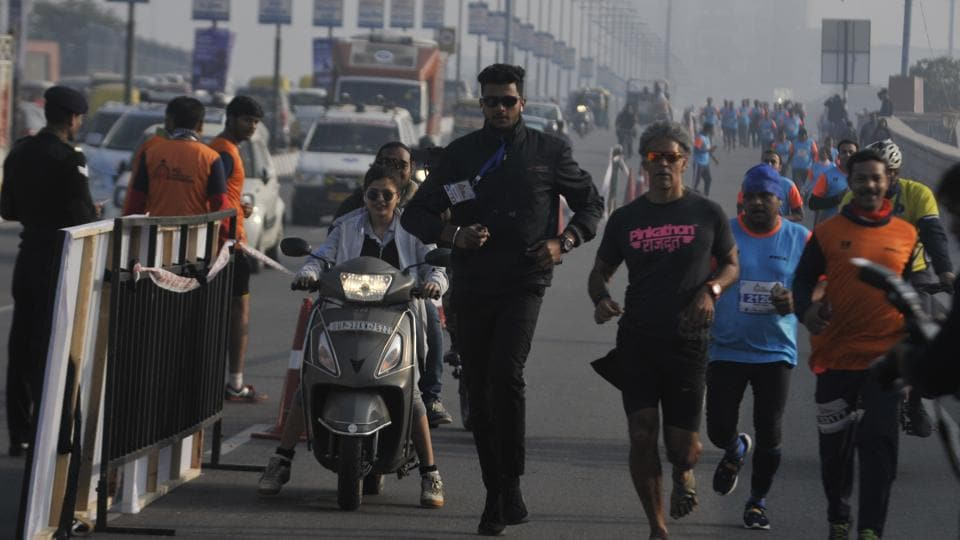 Milind Soman was in Lucknow as an ambassador to the HCL Lucknow City Half Marathon.