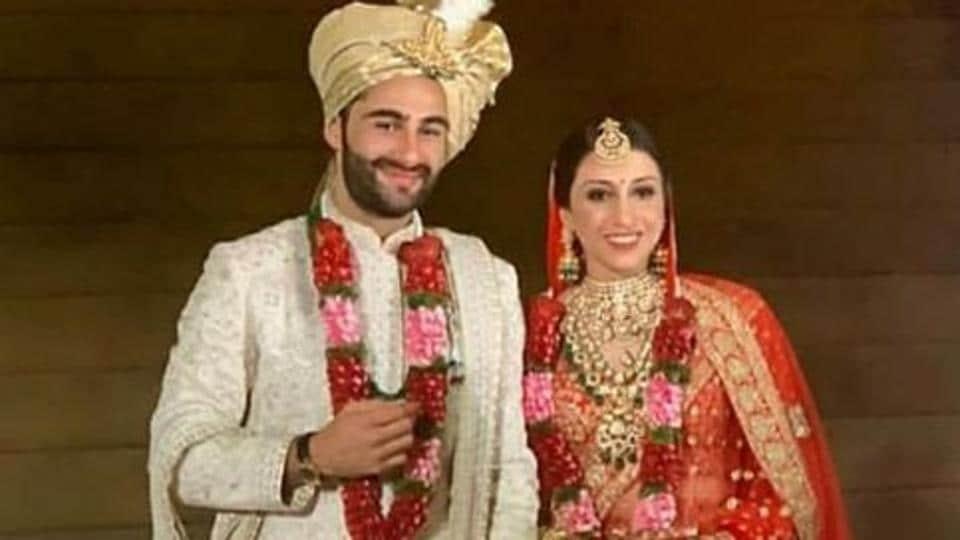 Armaan Jain and Anissa Malhotra at their wedding.