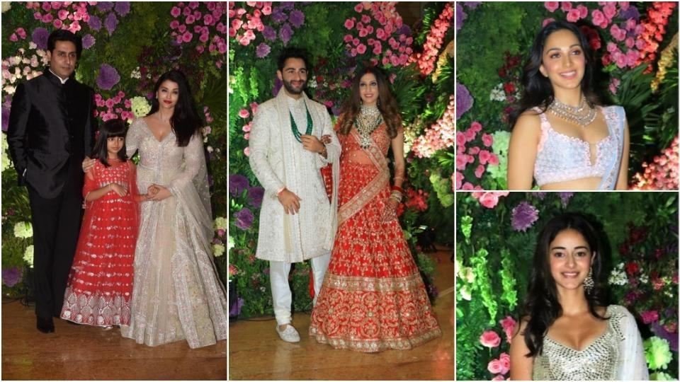 Aishwarya Rai, Abhishek Bachchan, Kiara Advani and Ananya Panday at Armaan Jain and Anissa Malhotra's wedding.