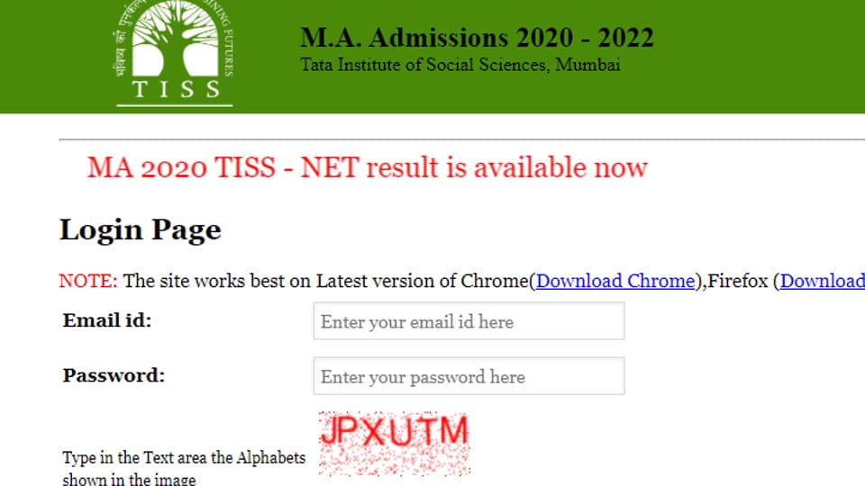 TISS NET MA Result 2020 out