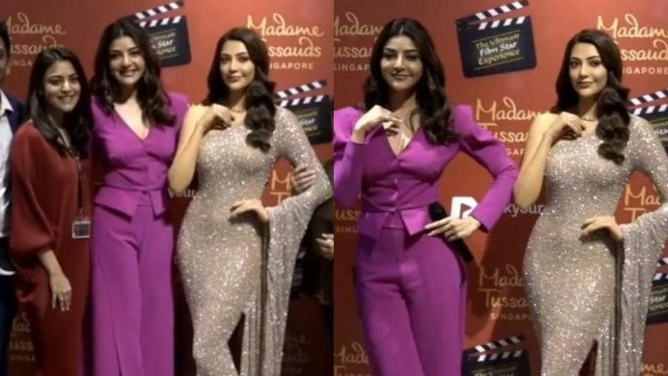 Kajal Aggarwal with her wax statue at Madame Tussauds, Singapore.