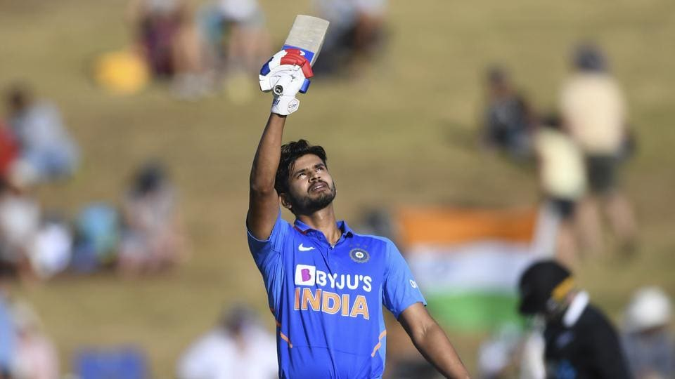 India's Shreyas Iyer celebrates his century - 100 not out during the One Day cricket international between India and New Zealand at Seddon Oval in Hamilton, New Zealand, Wednesday, Feb. 5, 2020.