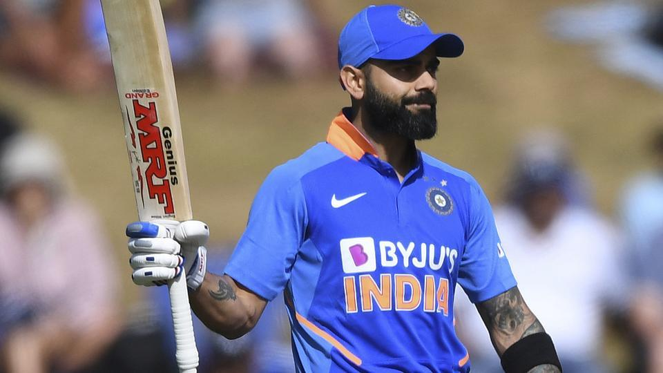 Virat Kohli in action during the first ODI between India and New Zealand.