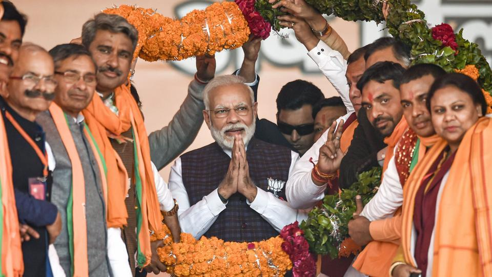 Prime Minister Narendra Modi at an election rally ahead of the Delhi Assembly polls, at Dwarka,  Tuesday, Feb. 4, 2020.