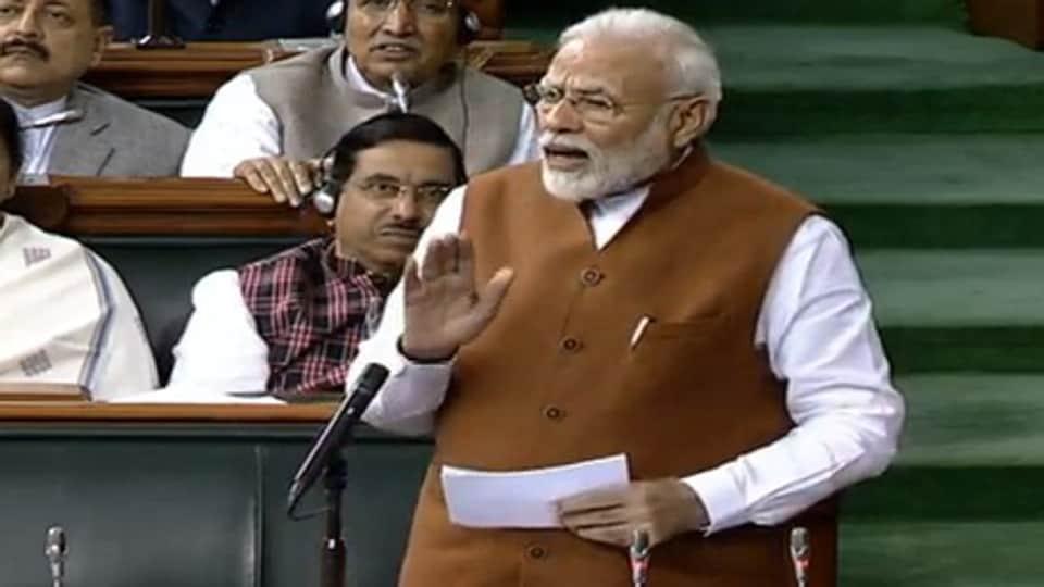 PMModi in Parliament. (ANIphoto)