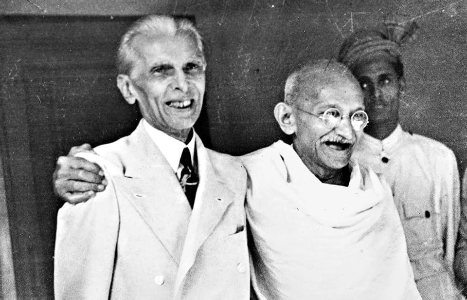Muhammad Ali Jinnah with MK Gandhi in 1946.