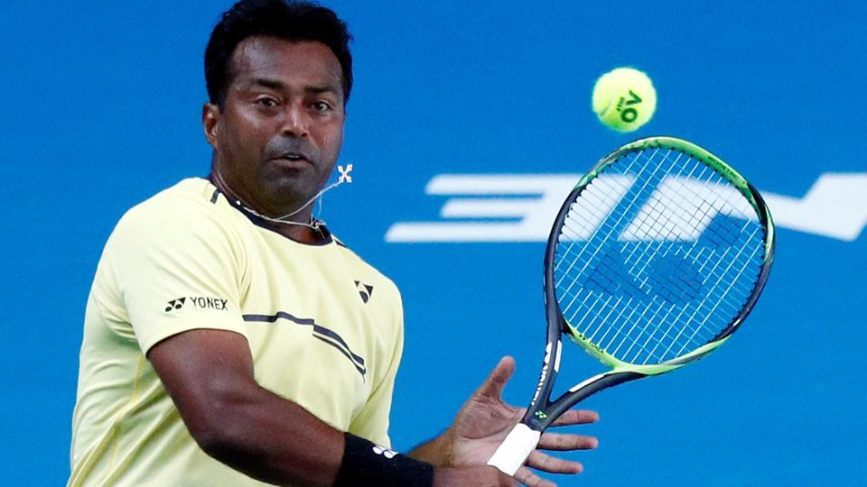 India's Leander Paes in action during the match against Germany's Anna-Lena Groenefeld and Colombia's Robert Farah.