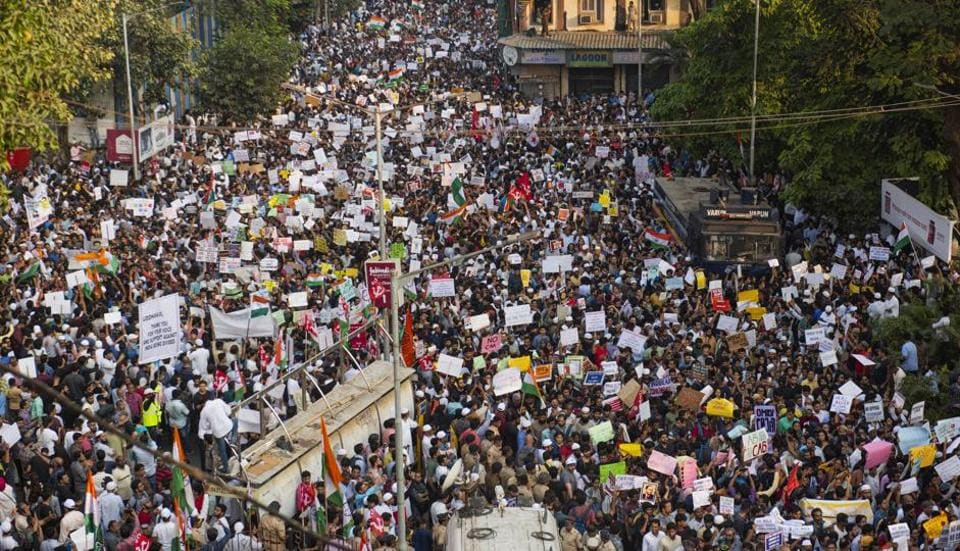 People gather to protest against CAA and NRC at August Kranti Maidan in Mumbai, India, on Thursday, December 19, 2019.