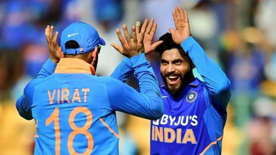File image: Bengaluru: India's Ravindra Jadeja (R) celebrates with skipper Virat Kohli.