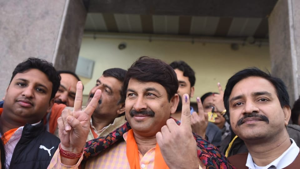 BJPMPManoj Tiwari after casting his vote in the Delhi Assembly elections on Saturday.