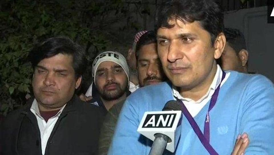 AAP's Saurabh Bharadwaj reacting to Exit Poll Live Results on Saturday night.