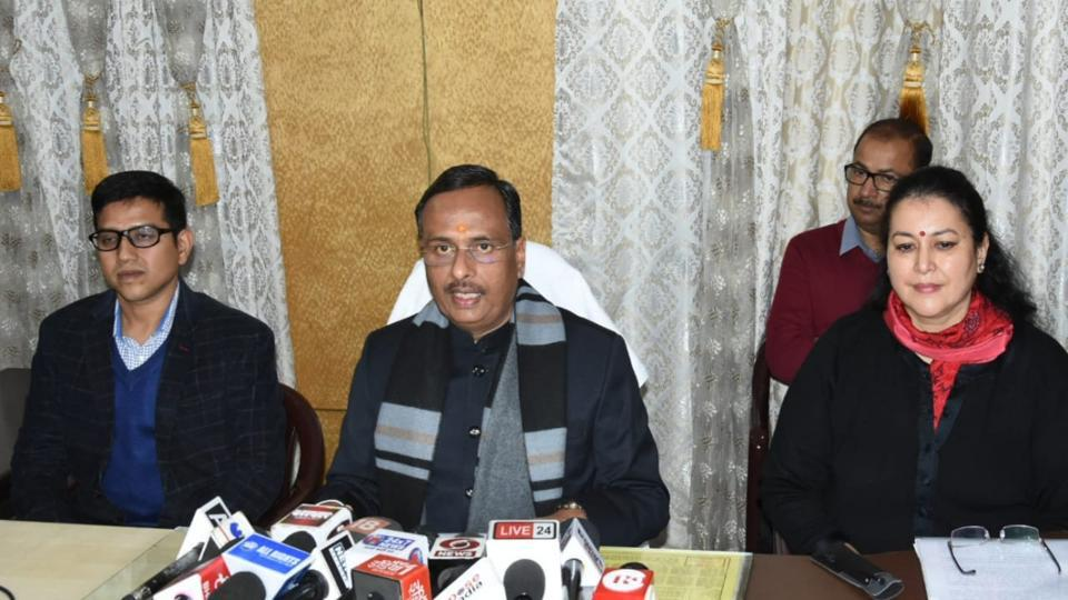 Deputy chief minister Dinesh Sharma with principal secretary secondary education Aradhana Shukla inaugurating control room for monitoring of UP Board examinations in Lucknow on Friday. Later Sharma addressed press conference in Lucknow on Friday.