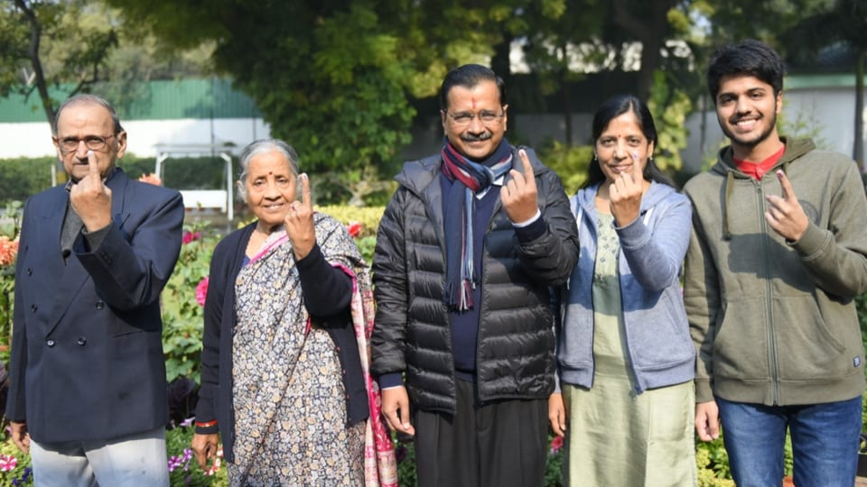 Delhi Chief Minister Arvind Kejriwal and his family after casting their vote