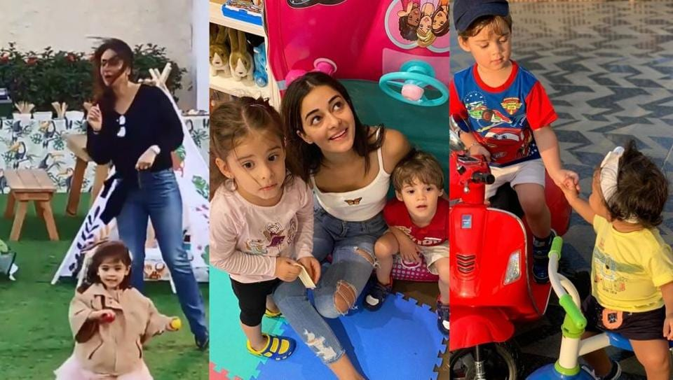 Kareena Kapoor grooving with Inaaya (left), Ananya Panday playing with Roohi and Yash (centre) and Yash playing with Mehr Dhupia Bedi at his birthday bash (right).