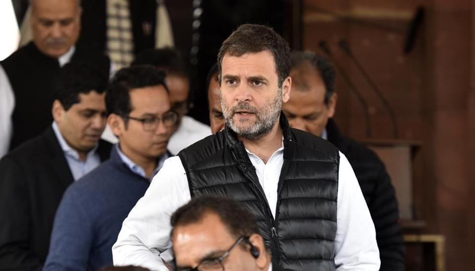 Congress leader Rahul Gandhi exits Parliament House, during the ongoing Budget Session, in New Delhi on Friday, February 7, 2020.